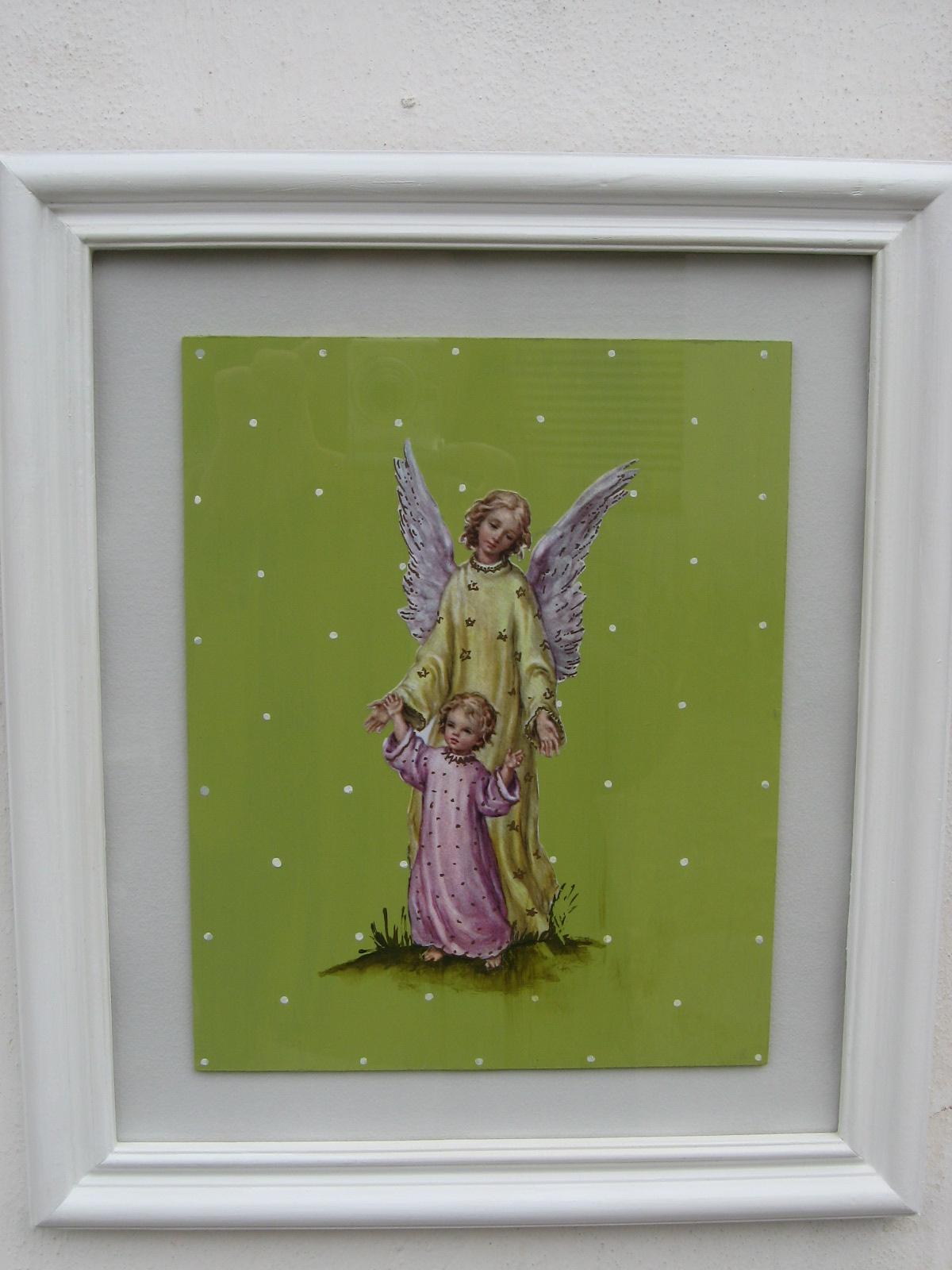 alemendez: Angel de la guarda(decoupage/pintura/ enmarcado).