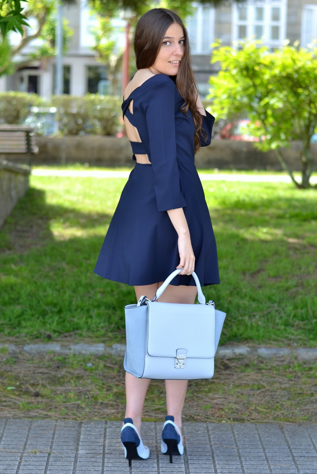 blue dress backless