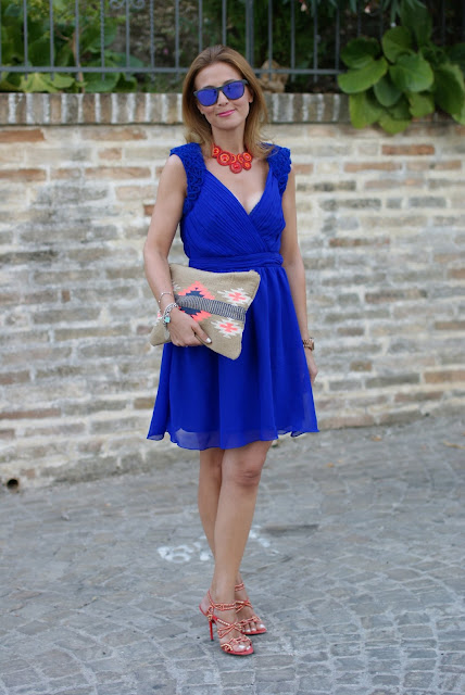 Royal blue chiffon dress, Oakley mirror sunglasses, Cesare Paciotti shoes, elegant summer outfit, Fashion and Cookies