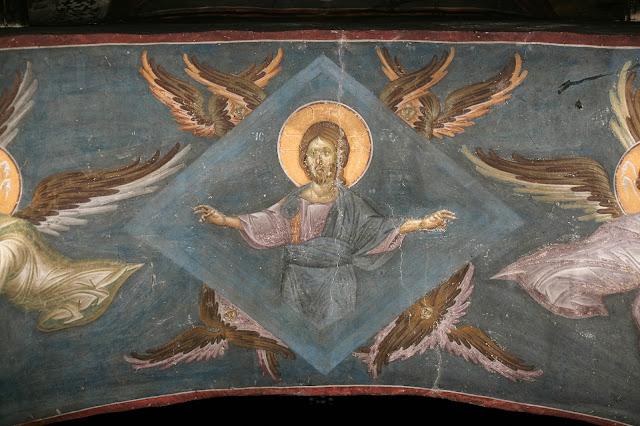 Λεπτομέρεια τοιχογραφίας από το Μοναστήρι της Γκρατσάνιτσας, Κόσοβο, Σερβία. Οι τοιχογραφίες της Γκρατσάνιτσα ολοκληρώθηκαν το 1321 και είναι έργο δύο σημαντικών Βυζαντινών αγιογράφων από τη Θεσσαλονίκη: του Μιχαήλ Αστραπά και του Ευτύχιου.