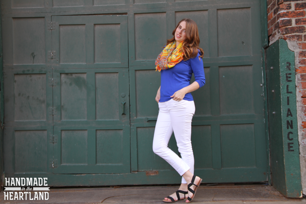 Saturday Style: White Jeans and an Aztec Scarf