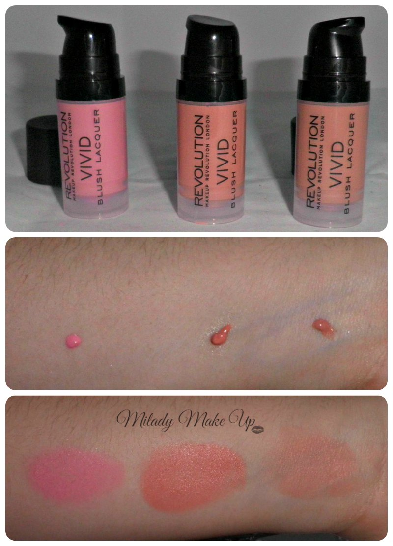 Makeup Revolution Vivid blush swatches Rush Heart Bloom