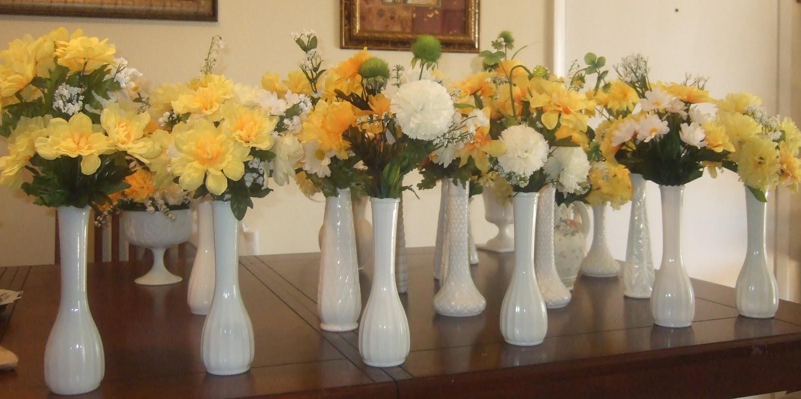 Ana silk flowers ideas milk glass wedding table for Milk can table ideas