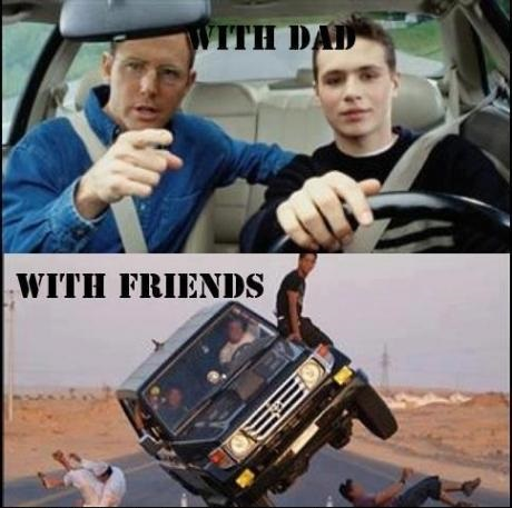 Driving with dad & Friends
