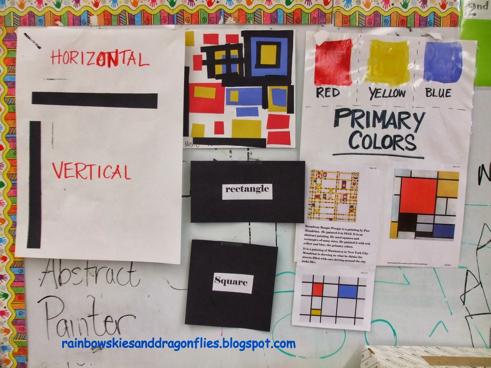 Color wheel art lesson for second grade - Primary Colors And Mondrian Kindergarten And 1st Grade