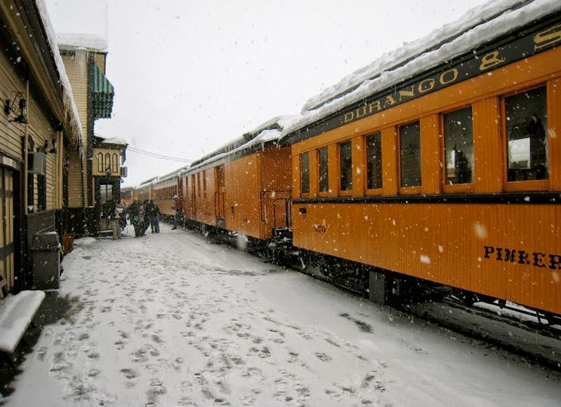 Train cars in the station.