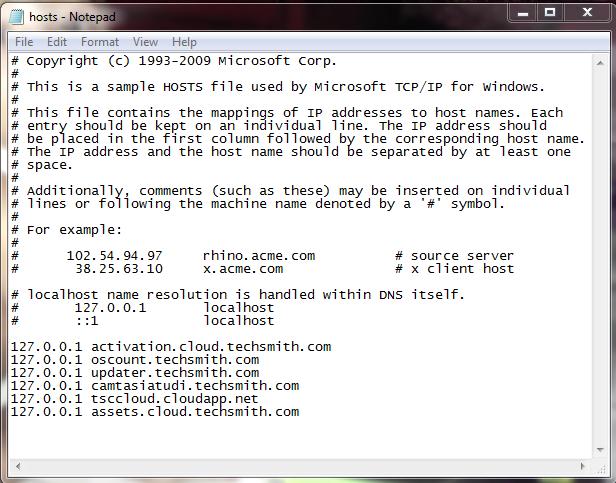 edit hosts files