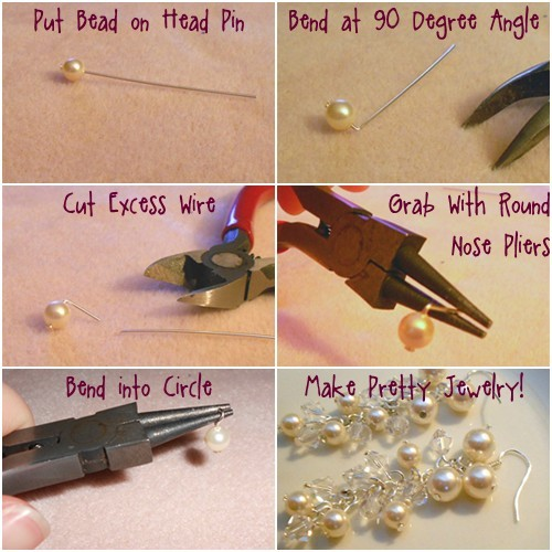 put your bead onto a head pin bend it at a 90 degree angle right above the bead using needle nose pliers trim most of the wire off using wire cutters