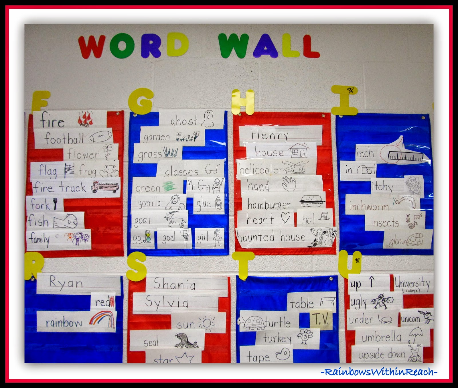 Word Walls & Environmental Print RoundUP at RainbowsWithinReach