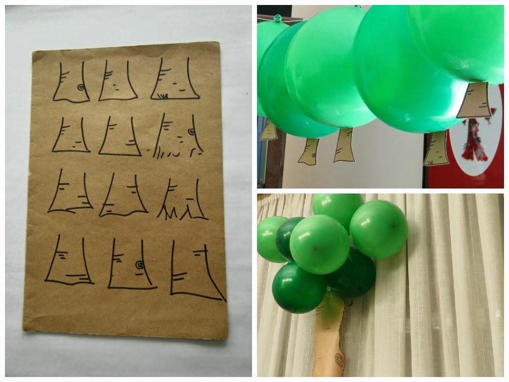 Bosque con globos verdes