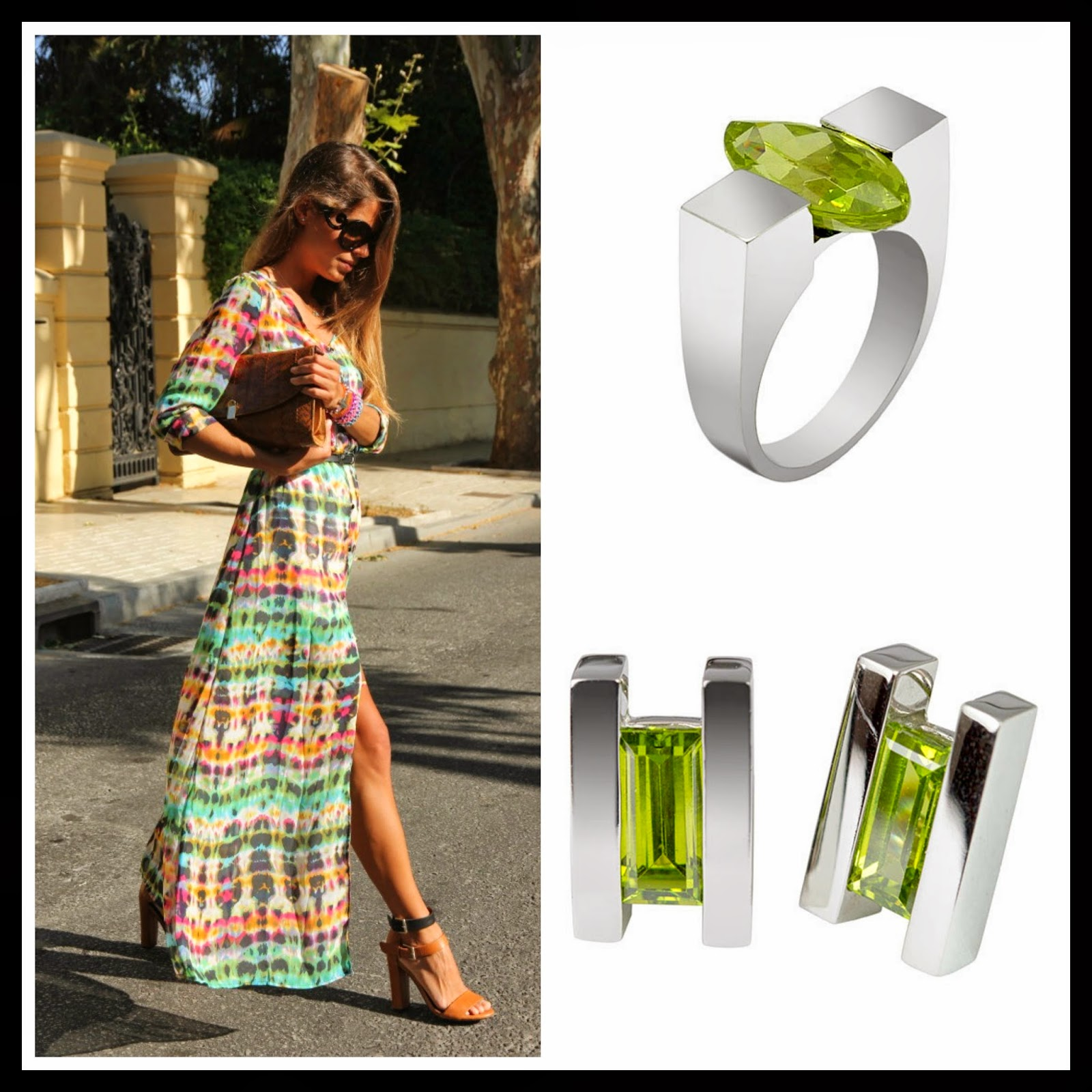 green jewelry, green gemstone ring, contemporary rings,green earrings, green gemstone earrings