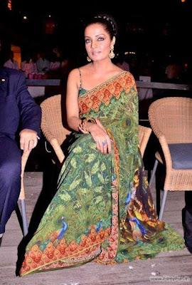 Celina Jaitley in peacock sari