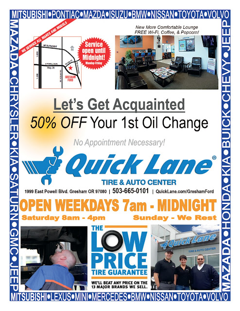 Half Off Your First Oil Change at Quick Lane at Gresham Ford