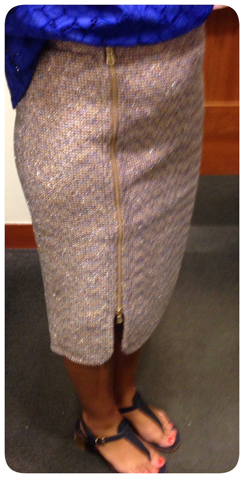 Zip-Front Pencil Skirt in Sparkle Tweed – Life is Short…Buy the Shoes
