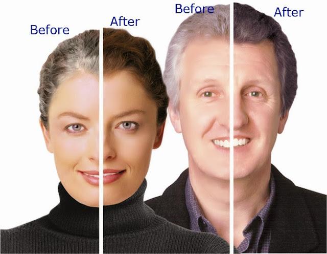 Grey Away thuốc xịt làm đen tóc trước và sau khi sử dụng