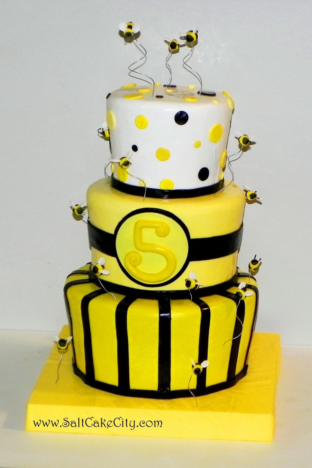 Salt Cake City Bumblebee Birthday Cake
