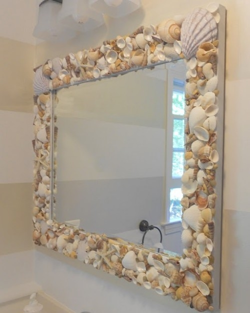 Interesting ideas for decor: Зеркала и рамки для фото декорируем ракушками. Mirrors and photo frames decorate shells