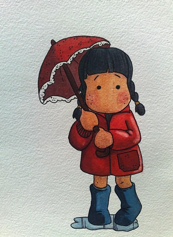 Tilda acquerello winsor newton cotman bimba ombrello