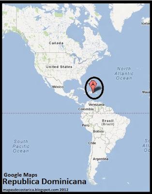 Mapa de Republica Dominicana en América, Google Maps