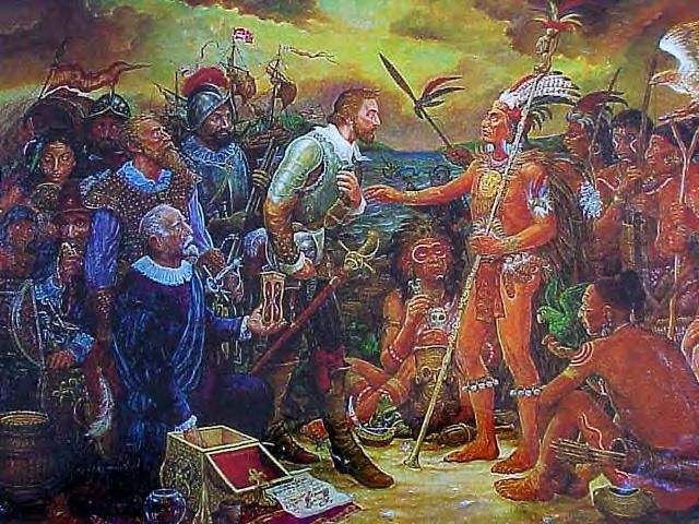 El cacique Agueybana recibiendo al conquistador Juan Ponce de León