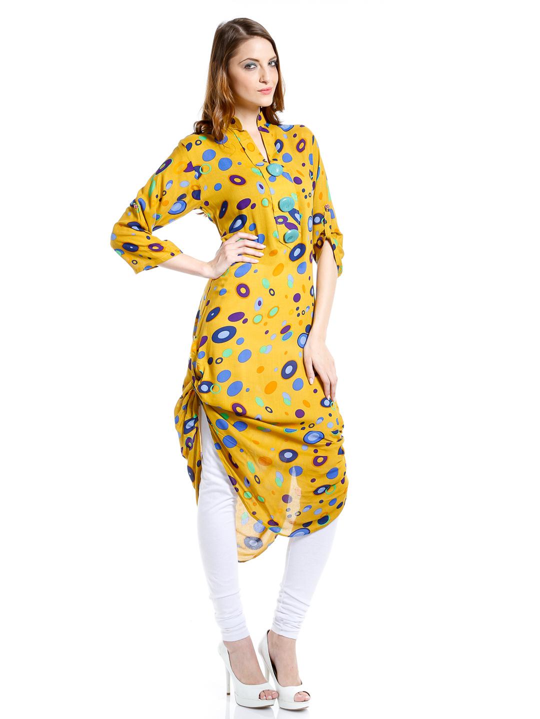 Shirt ke design - Pocket Style Long Shirts Folding Long Kameez With Churidaar Trouser