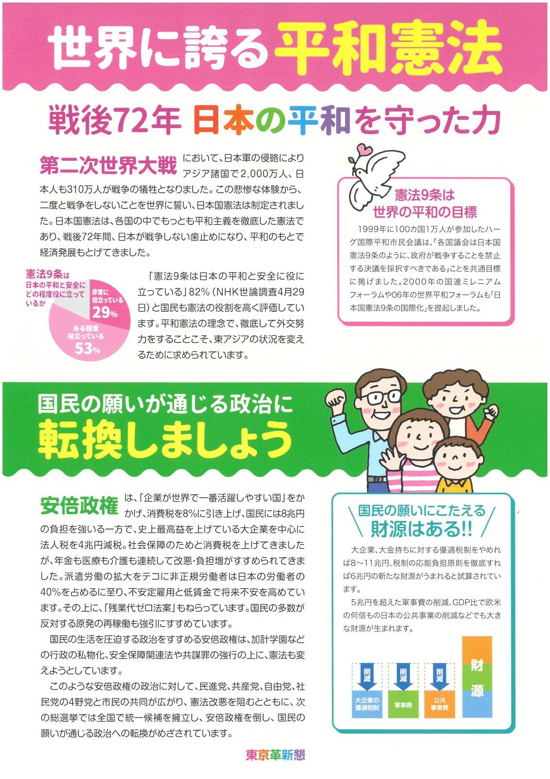 東京革新懇、「改憲NO!」ビラ10万枚作成。地域・職場革新懇に無料提供(下記は裏面)
