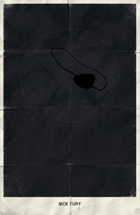 marko manev ilustração poster minimalista super heróis marvel Nick Fury