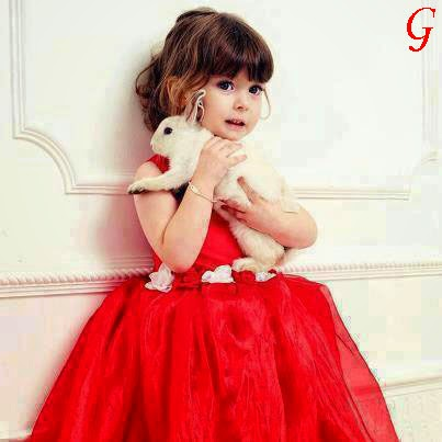 Baby-Girls-Gown-Red Frocks-Kids Photos