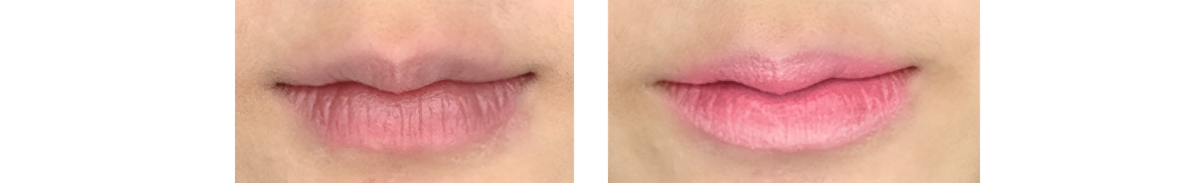Before and after shots using the Mixiu Triple Shot gradient lipstick from Born Pretty Store.
