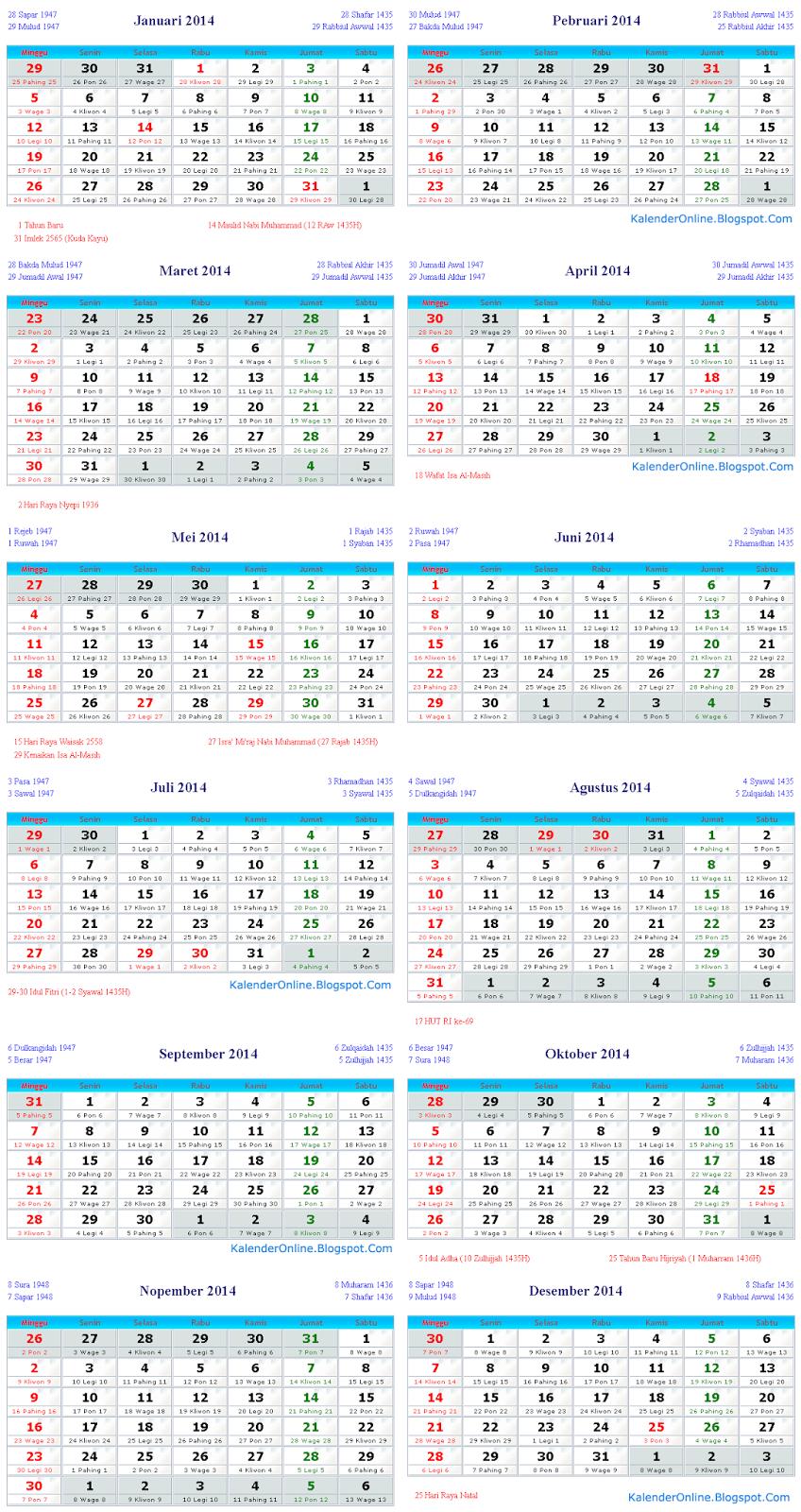 Download Kalender 2014 Indonesia Hari Libur Nasional Cuti Bersama