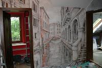 Malowanie na ścianie widoku w perspektywie, Wenecja, dekoracja ścienna