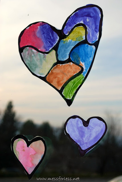 Stained Glass Hearts with Black Glue