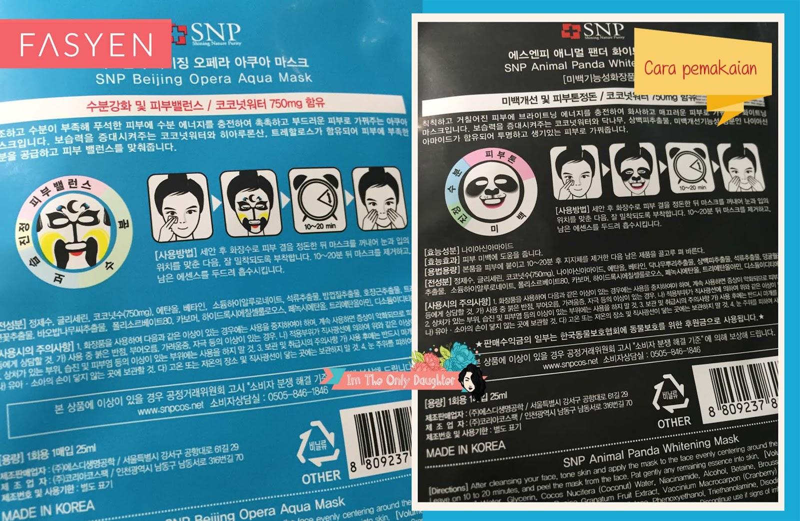Fasyen Snp Animal Panda Whitening Mask Beijing Opera Aqua Masker Face Moisture To Reinforce Retention Of Dry And Water Insufficent Skin With Energy Creating Moist Silky