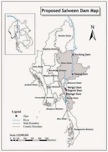 Staudamm Saluen Myanmar