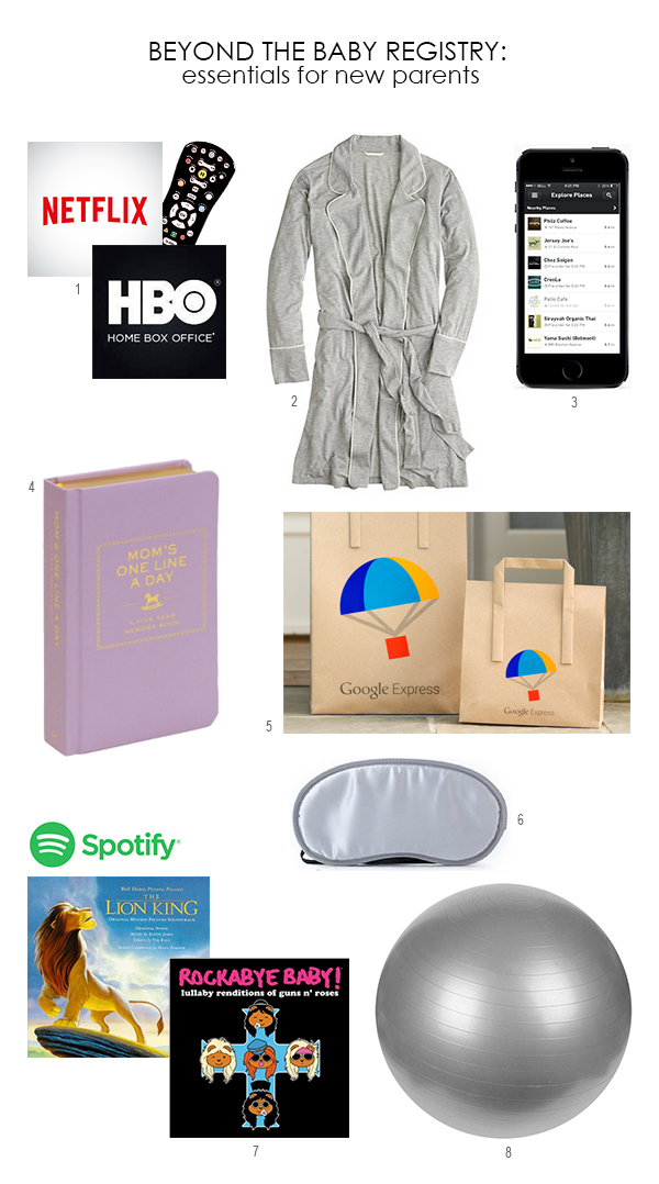 Beyond the Baby Registry: Other Essentials for New Parents (HBO GO, Google Express, Spotify, OrderAhead & more must-haves)