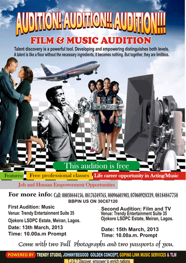 acting auditions in nigeria 2013