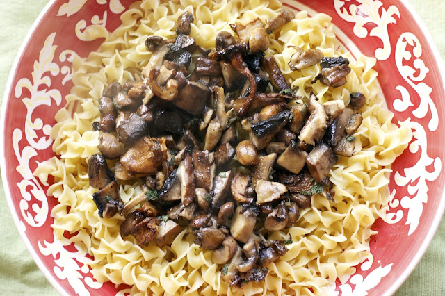 Mushrooms in a Butter Sauce over Egg Noodles