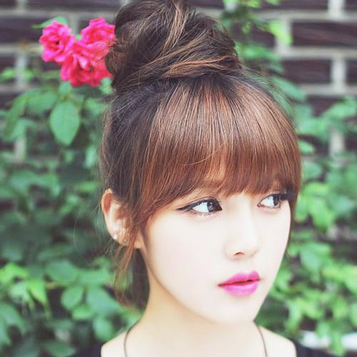 Korean Bun hairstyle for Long hair