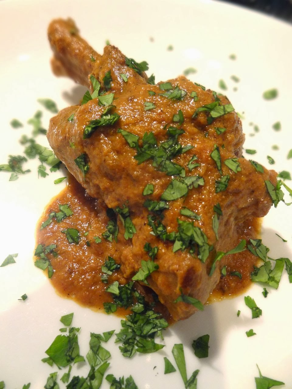 ... and garnished with a little cilantro, the lamb shanks were delicious