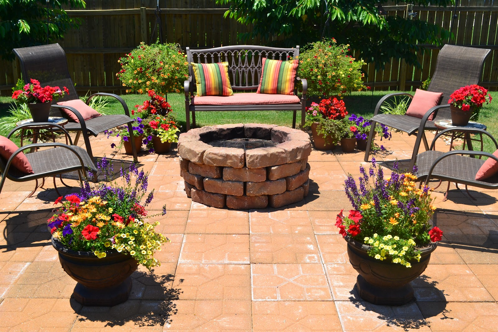 Kristen 39 s creations patio flowers vacations and a for Flower fire pit