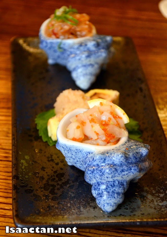 A closer look at the ika tobiko ai (marinated squid with flying fish roe)