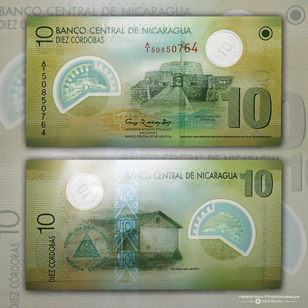 Polymer banknote Nicaragua 10 Cordobas