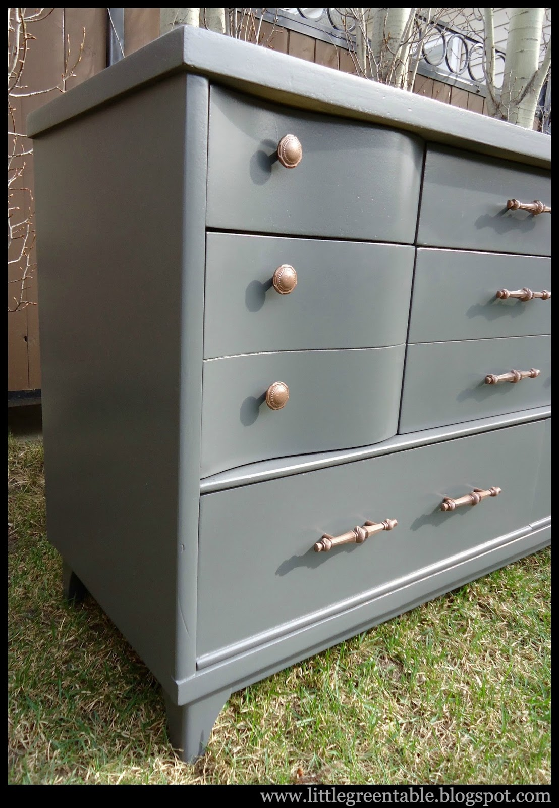 Grey Curved Drawer Cabinet Little Green Table
