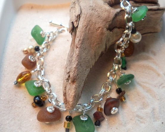 Beach Glass Bracelet for Autumn