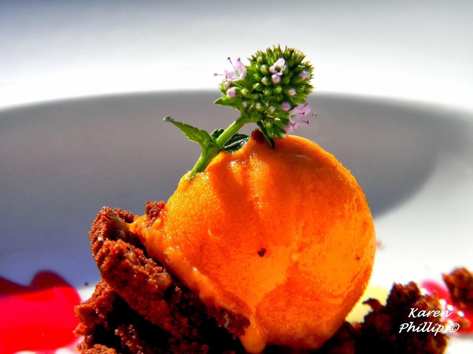 prickly pear sorbet and crumbled crispy dark chocolate