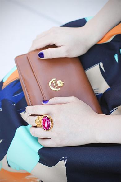 Lauren Ralph Lauren brown leather clutch