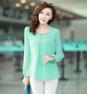 Model blouse korea lengan panjang Casual