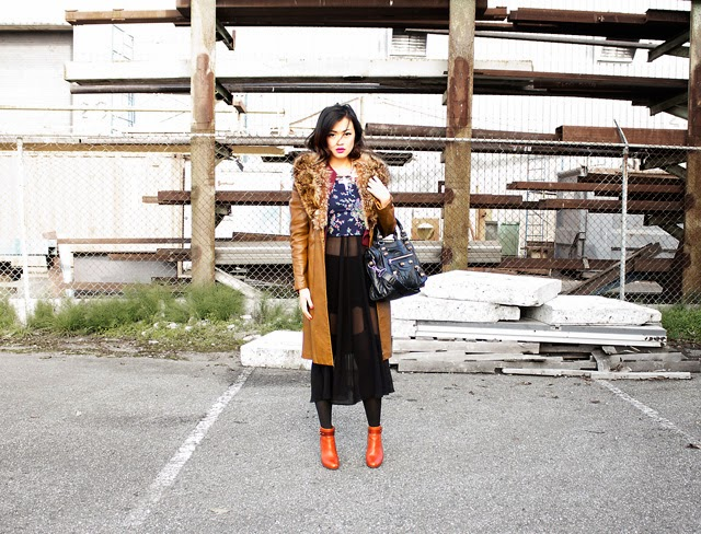 Vancouver fashion blogger Jasmine Zhu wearing vintage fur collar coat, tory burch booties