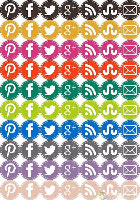 Craftiments.com:  Free set of social media icons in Pantone Fall 2012 inspired colors