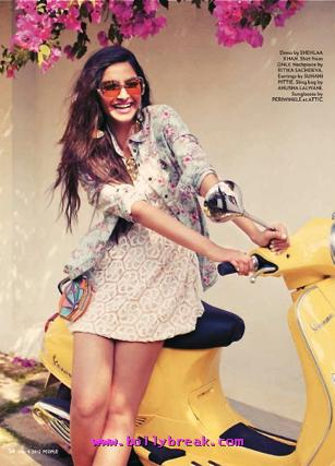 Sonam Kapoor in short dress, yellow scooter - Sonam Kapoor People Magazine Hot Scans